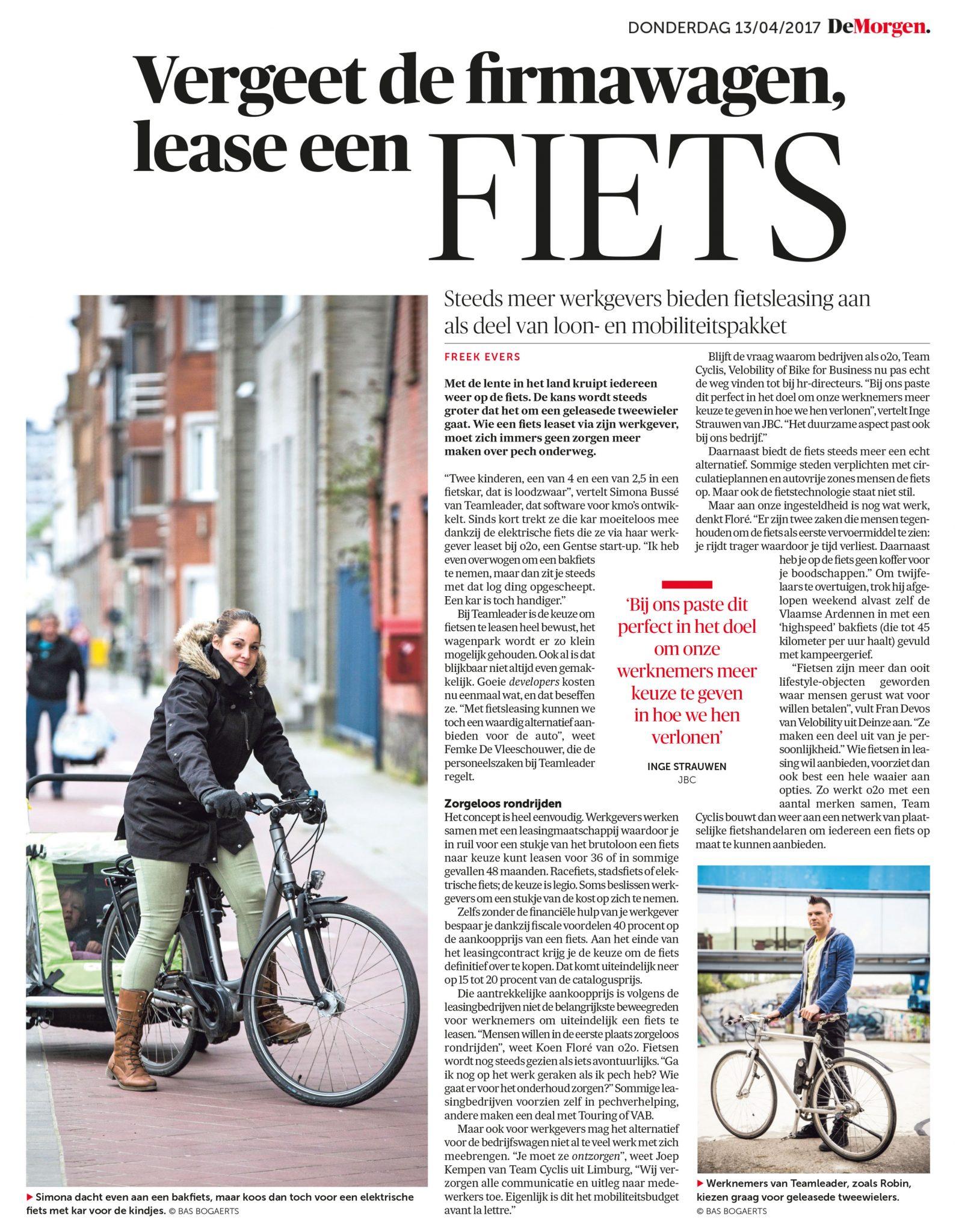 Artikel rond fietsleasing in De Morgen